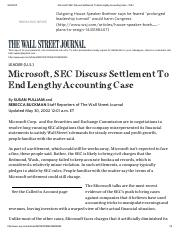 Microsoft, SEC Discuss Settlement To End Lengthy Accounting Case - WSJ.pdf