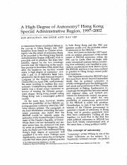 A High Degree of Autonomy