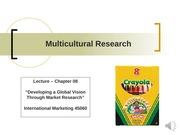 Chapter 8 Lecture - Multicultural Research
