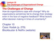 Week 11 Lecture and Notes - Organizational Learning and Change