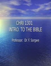 CHRI 1301 Intro to the Bible FINAL  Sorgwe