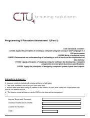 Programming 2 Formative Assessment 1 (Part 1)