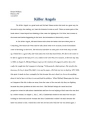 Essay Format Example For High School Killer Angels Paper  Denzel Wilkins History   Killer Angels  The Killer Angels Is A Great Book And Michael Shaara Writes This Book In A Reflective Essay Sample Paper also English As A World Language Essay Killer Angels Paper  Denzel Wilkins History   Killer  Examples Of Thesis Statements For Argumentative Essays