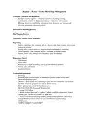 Chapter 12 Notes – Global Marketing Management