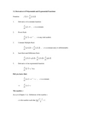 3.1 Derivatives of Polynomials and Exponential Functions