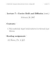 Carrier Drift and Diffusion II notes