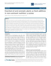 Essential oil and aromatic plants as feed additives in non-ruminant nutrition a review