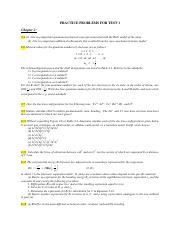 Practice problems for Test 1