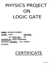 physics-class-12-project-logic-gates pdf - PHYSICS PROJECT SUBMITTED