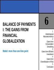 CHAPTER 6 BALANCE OF PAYMENTS I THE GAINS FROM FINANCIAL GLOBALIZATION.ppt