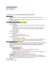 DNH 141 - Dental Hygiene Lecture TEST ONE notes.docx
