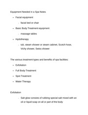 Equipment Needed in a Spa Notes