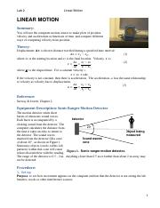 Lab 2 Linear Motion