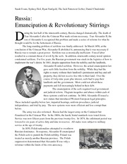 Russia Emancipation and Revolutionary Stirrings Handout