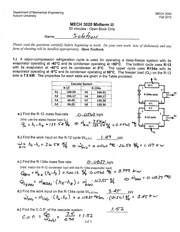 MECH 3020 Fall 2013 Midterm III Solution