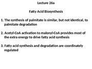 Lecture 26a Fatty Acid Synthesis