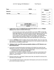Fall 2010 Practice Exam 1 part 1 - Spring 2010 Exam 1 - answer key