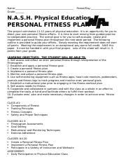 PERSONAL FITNESS PLAN ASSIGNMENT