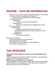 Resume and Interviews