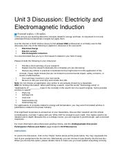 PHY120_U3_Discussion_Electricity and Electromagnetic Induction.docx