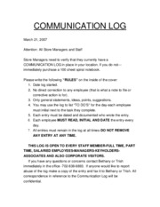 COMMUNICATION LOG-3-21-07