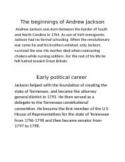 The beginnings of Andrew Jackson.docx