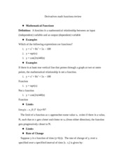 Derivatives math functions review