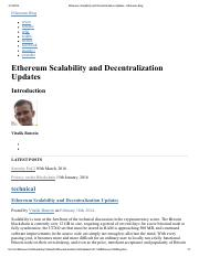 Ethereum Scalability and Decentralization Updates - Ethereum Blog