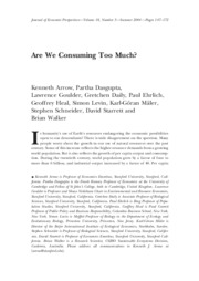 Arrow et al on Consuming Too Much