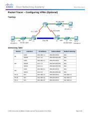 7.1.2.4 Packet Tracer - Configuring VPNs (Optional) Instructions
