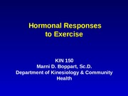 Hormonal Responses to Exercise Lecture Slides