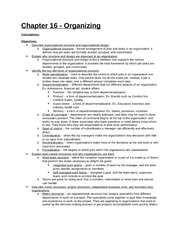 Study Guide - Part 5 - Chapter 16 - Organizing
