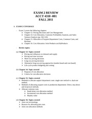 Exam 2 Review - ACCT 4310 -  Fall 2011