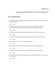 Chapter 18 - Because advertising is the most visible form of ...