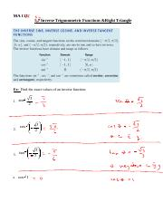 Section 5.4 - Inverse Trig Functions and Right Triangle