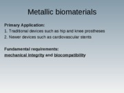 Biomaterials Lecture 4&5 Material Classes