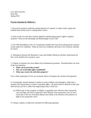 Practice Question Law and Econ Spring 2014