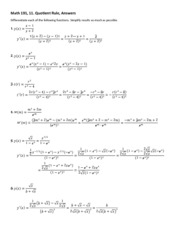 11 d quotient rule answers