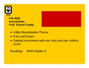 FIN4020 Lecture 3: Investing in a Risky Asset