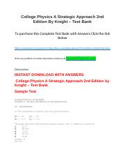 College Physics A Strategic Approach 2nd Edition By Knight – Test Bank.docx