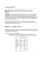 Assignment 2 - SQL