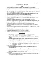 Gender and Society Midterm 1 Quick Study Guide
