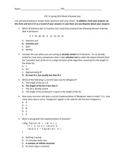 CSE 12 spring 2014 Week 6 Review Quiz Answers