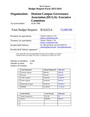 DCGA- Exec Committee Budget Request 2013-2014
