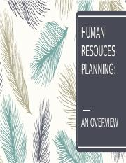 Unit 1 - Human Resouces Planning (An Overview)