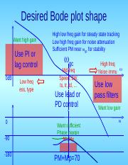 EE 475 Lecture 26 ppt - Desired Bode plot shape Want high gain Use