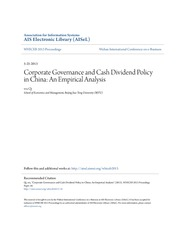 Corporate Governance and Cash Dividend Policy in China- An Empiri