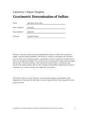 Laboratory 4 - Gravimetric Determination of Sulfate