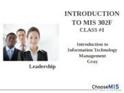 Class 01 - Introduction MIS 302F