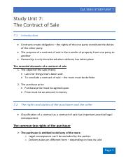 Study Unit 7 - The Contract of Sale